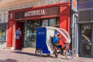 Livreur à vélo-cargo à Lyon